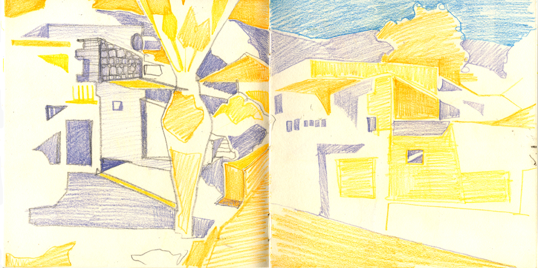 sketchbook page village drawing
